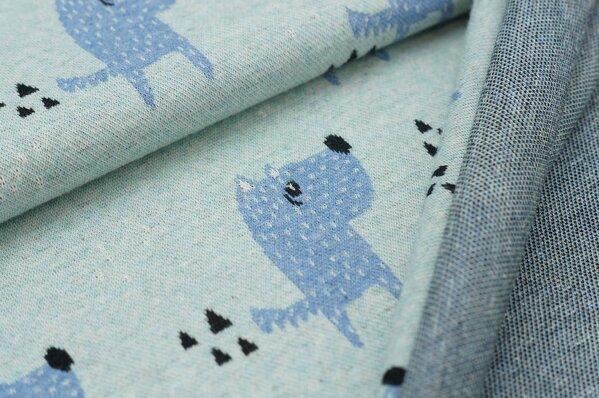 Jacquard-Sweat Mia Hunde / Dreiecke pastell mint / jeansblau melange