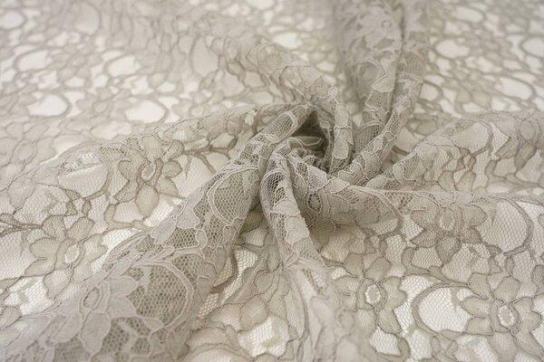 Elastische Spitze mit Blumen-Muster hellgrau