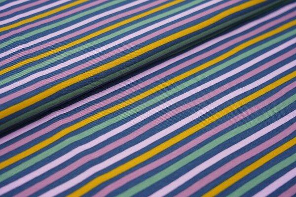 Baumwoll-Jersey mehrfarbige Streifen Ringel jeansblau / flieder lila / violett / senf / grün