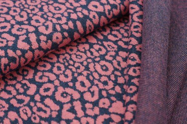 Jacquard-Sweat Mia altrosa Leoparden Muster auf navy blau Melange