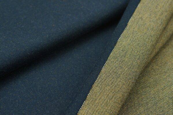 Jacquard-Sweat Ben navy blau Uni mit navy blau, senf und off white Rückseite