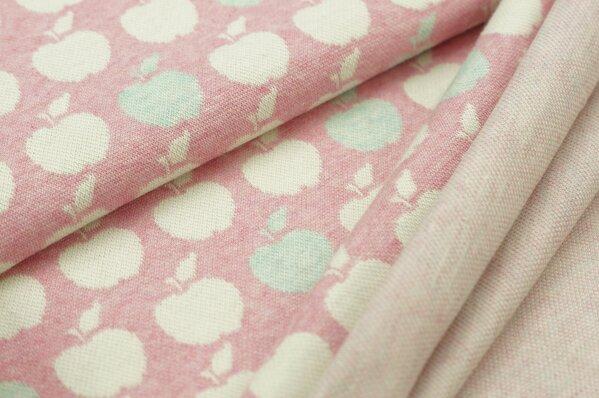 Jacquard-Sweat Mia off white und pastell mint Äpfel auf pastell pink Melange