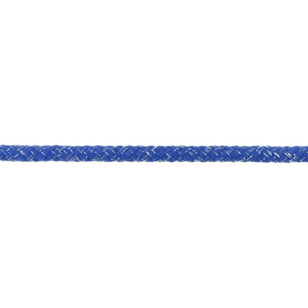Dicke Glitzer Kordel rund uni kobald blau / silber 10 mm breit