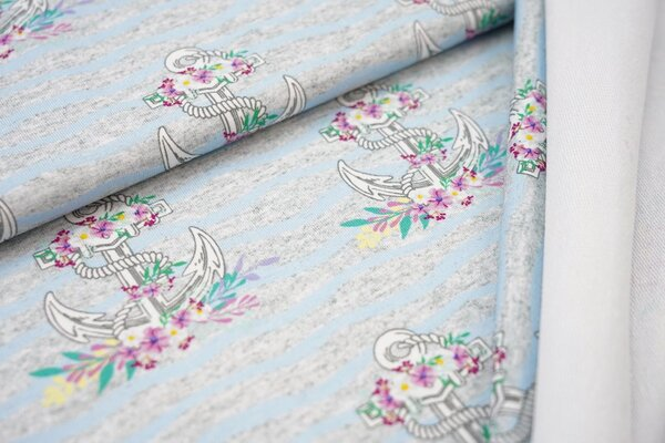 Baumwoll-Sweat Anker mit Blumen auf Streifen grau meliert / hellblau
