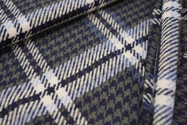 Mantelstoff Hahnentritt-Karo-Muster grau / dunkelblau / weiß / blau / hellblau
