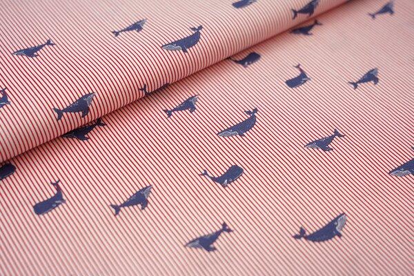 Baumwolle Wale auf schmalen Streifen weiß / rot / blau maritim