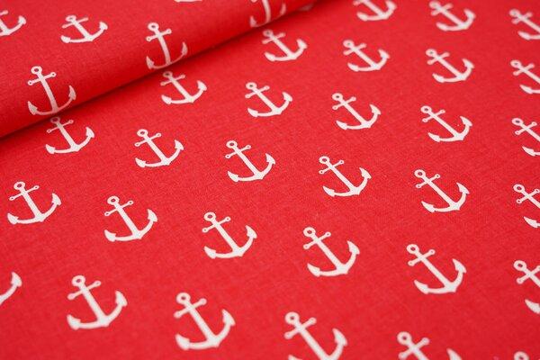 Baumwollstoff weiße Anker auf rot maritime Baumwolle