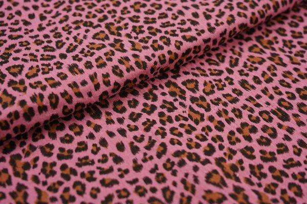 Musselin Stoff Double Gauze kleines Leoparden Muster altrosa schwarz hellbraun