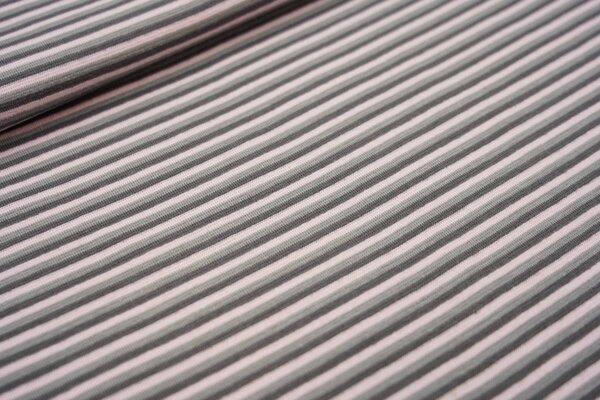Ringelbündchen mit Streifen grau / dunkelgrau / hellrosa