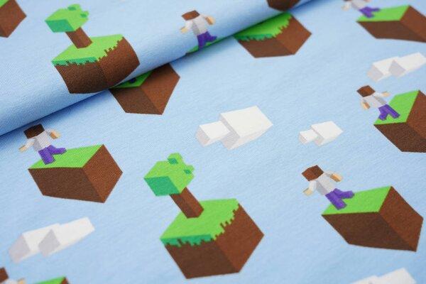 Baumwoll-Jersey Pixelwelt Blöcke Figuren Baume auf hellblau