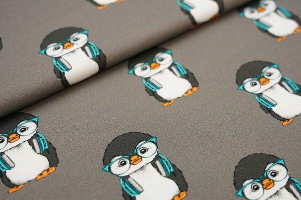 Baumwoll-Jersey Digitaldruck Pinguine mit Kopfhörern schlamm braun taupe