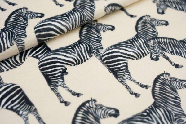 Samtiger Velours Dekostoff Zebras auf sandgelb
