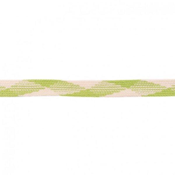 Kordel flach kariert limettengrün / ecru 20 mm breit