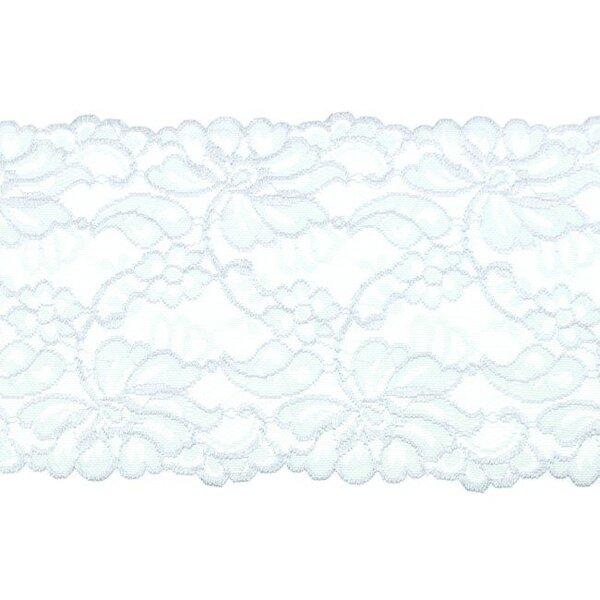 Elastische breite Spitze mit Blumen-Muster hellgrau 155 mm Spitzenbordüre