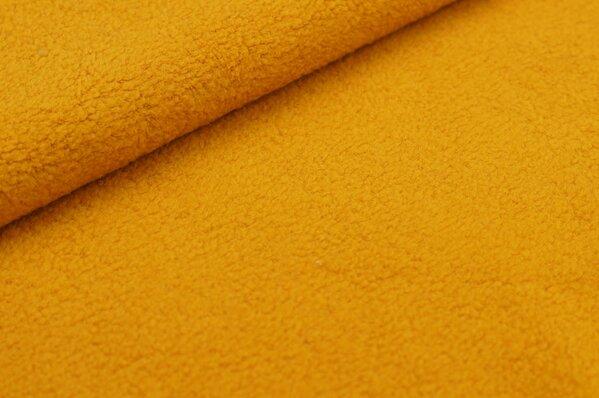 Baumwoll-Fleece uni senf orange
