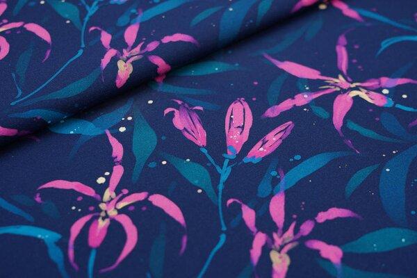 Traumbeere Baumwoll-Jersey mit Digitaldruck Aquarell Blumen und Punkte blau / pink / petrol