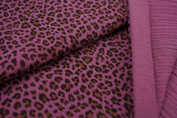 Musselin Stoff Double Gauze kleines Leoparden Muster aubergine schwarz hellbraun