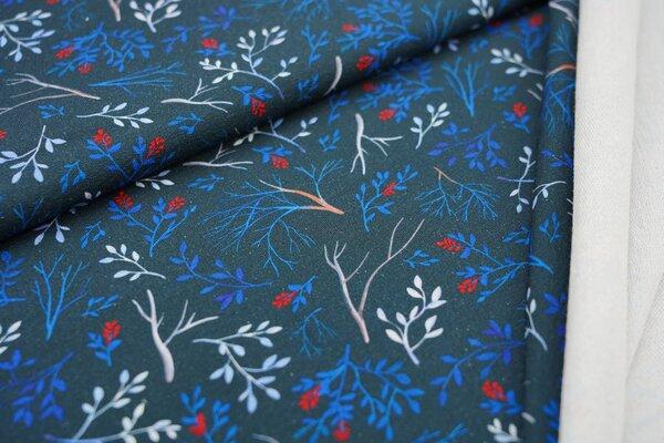 Baumwoll-Sweat Digitaldruck bunte Zweige auf schwarz Blätter Pflanzen
