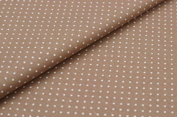 Baumwollstoff Baumwolle hellbraun sand mit kleinen weißen Punkten