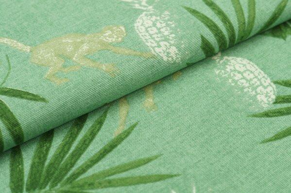 Dekostoff Canvas Ananas Affen und Blätter grün / beige