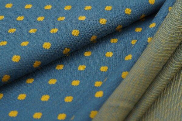 Jacquard-Sweat Ben senf Punkte Tupfen auf taupe blau