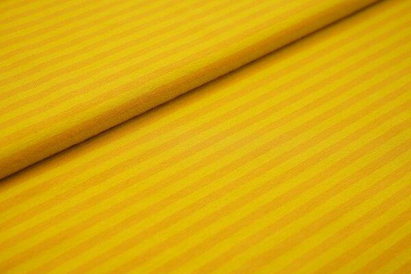 Baumwoll-Jersey Streifen Ringel senfgelb / senfrot