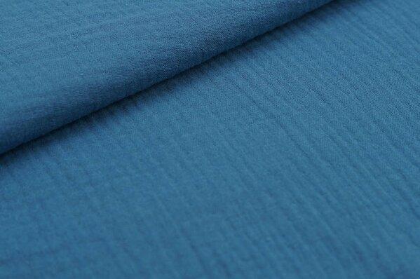 Musselin Stoff Double Gauze uni taupe blau