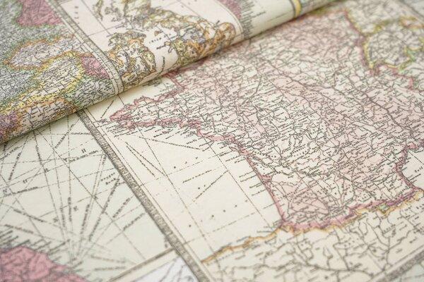 Dekostoff Canvas Weltkarte Kontinente bunt