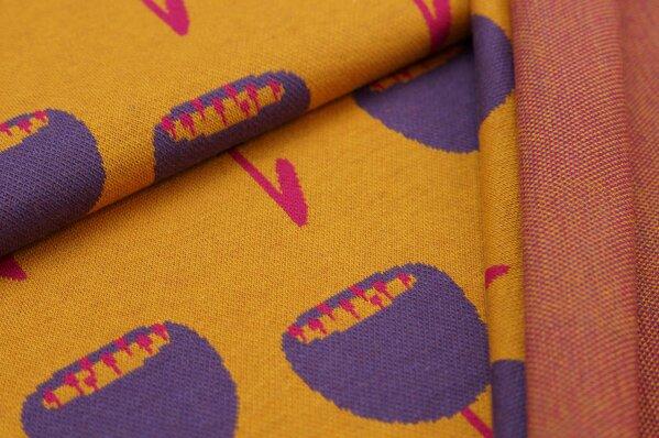 Jacquard-Sweat Ben mit großen Tulpen Blumen senf / amarant pink / lila