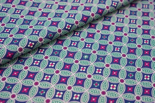 Baumwolle mit Blumen-Kreis-Muster dunkelblau / grün / pink / weiß / rosa