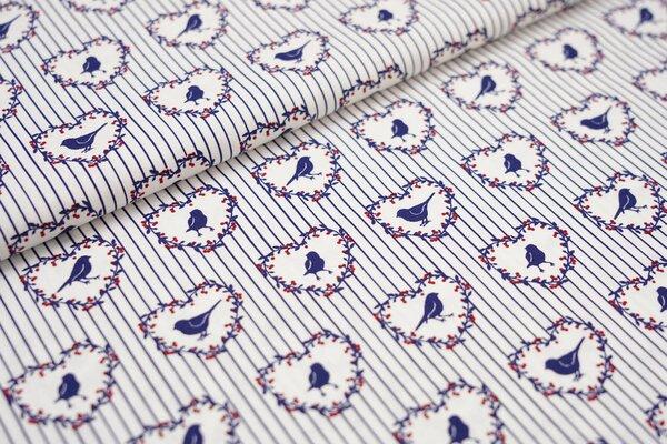 Baumwollstoff Vogel im Herz auf Streifen weiß dunkelblau rot Baumwolle
