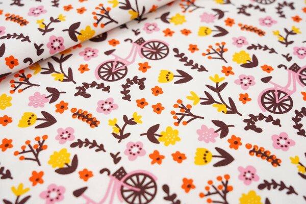 Baumwoll-Jersey bunte Blumen und Fahrräder weiß / braun / rosa / gelb / orange