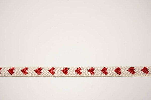 Webband mit roten Glitzerherzen auf natur 20 mm Zierband Dekoband
