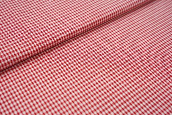 Baumwollstoff Baumwolle vichykaro Karomuster sehr klein kariert weiß / rot