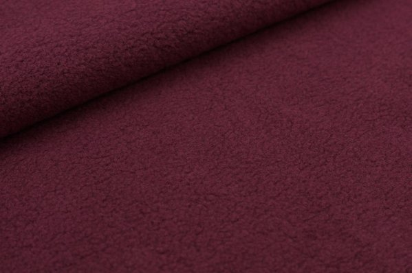Baumwoll-Fleece uni bordeaux rot