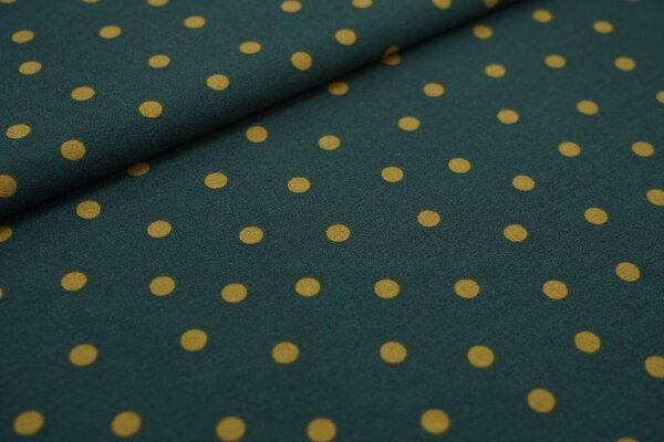 Kreppstoff Crepe Georgette oliv Punkte auf dunkelgrün