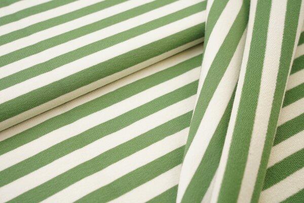 Traumbeere XXL Baumwoll-Sweat Marie Streifen Ringel mittel grasgrün und off white