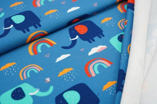 Traumbeere Baumwoll-Sweat Digitaldruck Elefanten Regenbogen Wolken auf petrol