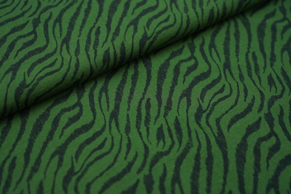 Baumwoll-Jersey mit Streifen als Tigerfellmuster waldgrün / schwarz