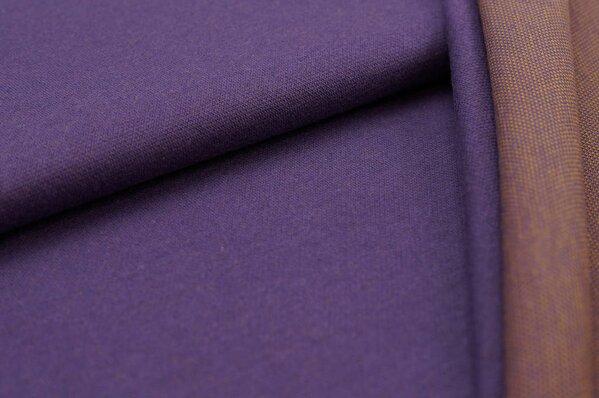 Jacquard-Sweat Ben lila Uni mit lila und senf Rückseite