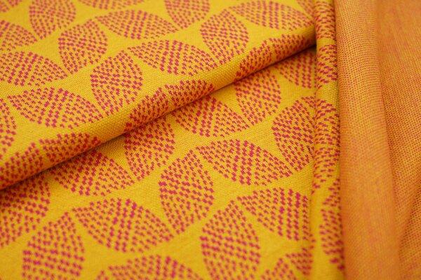 Jacquard-Sweat Ben amarant pinkes Blätter Muster auf senf