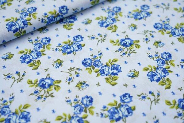 Baumwollstoff blaue Rosen Blumen auf hellblau