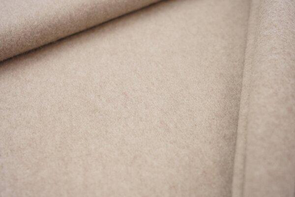 Dicker kuscheliger Baumwoll-Fleece Stoff uni beige meliert
