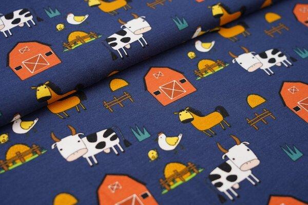 Baumwoll-Jersey mit Bauernhoftieren auf dunkelblau Kuh Pferd Huhn Stall