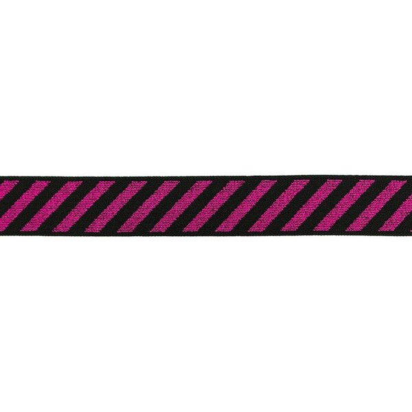 Gummiband mit diagonalen Glitzer Streifen pink auf schwarz 25 mm