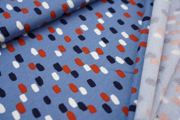 Kuscheliger Baumwoll-Sweat mit bunten Tupfen auf hellblau