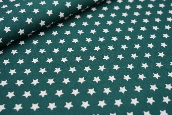 Baumwollstoff Baumwolle kleine Sterne waldgrün / weiß