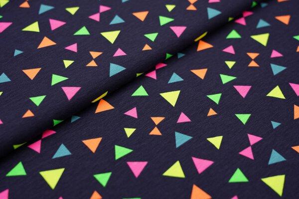 Baumwoll-Jersey bunte Dreiecke in neon Farben auf dunkelblau