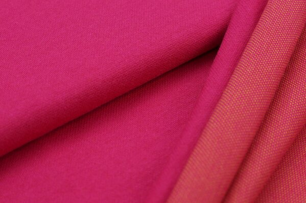 Jacquard-Sweat Ben amarant pink Uni mit amarant pink und senf Rückseite