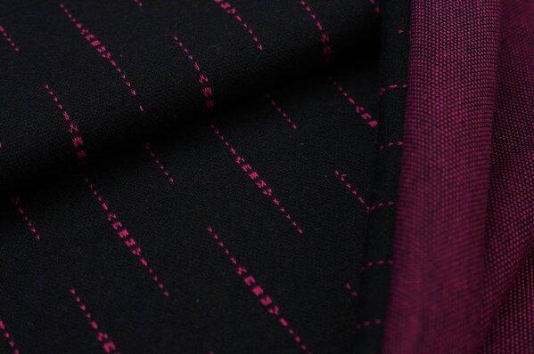 Jacquard-Sweat Ben amarant pinke Striche vertikal auf schwarz